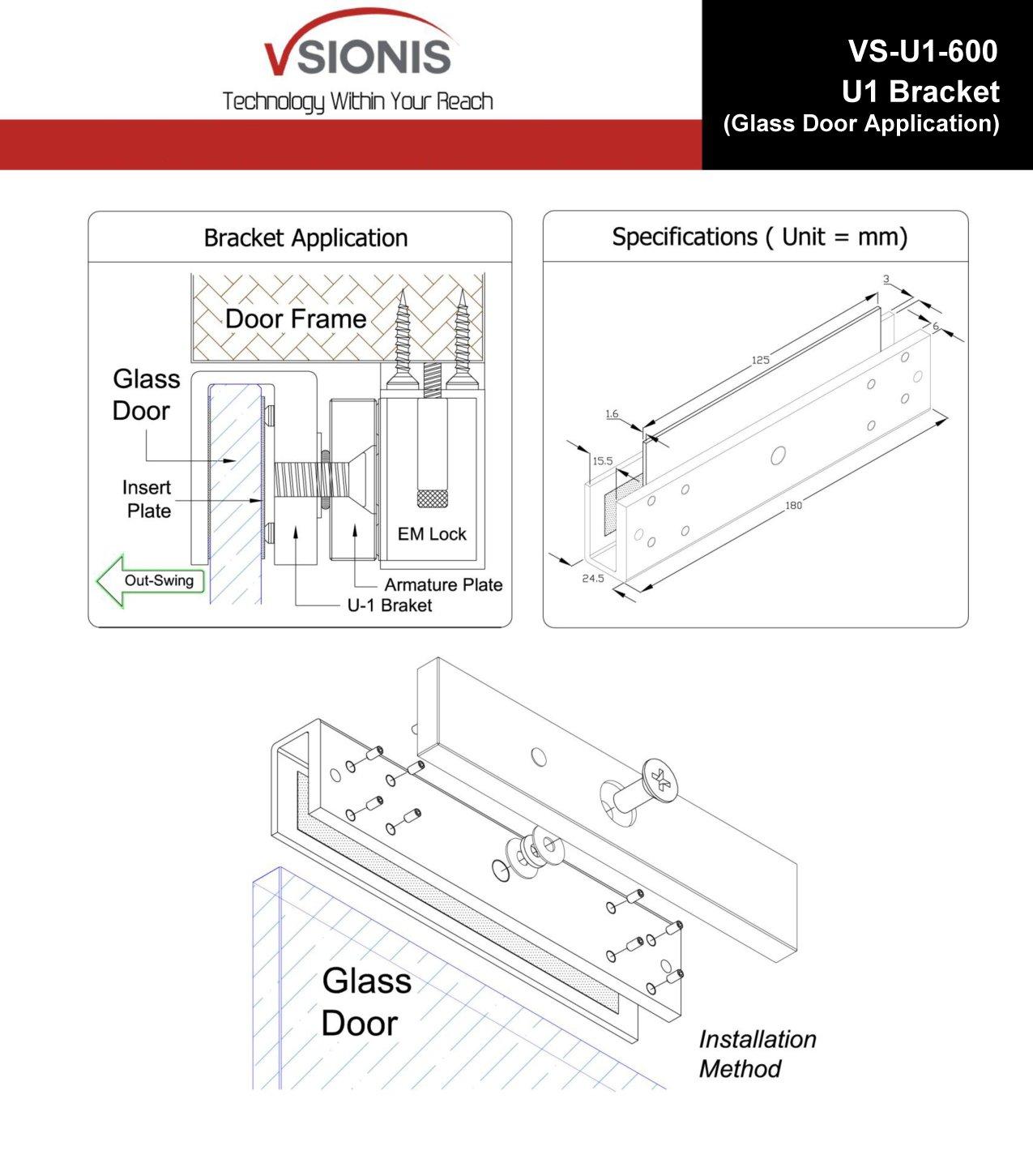 Visionis FPC-5225 600 lbs Indoor Electromagnetic Lock with 600 lbs U Bracket for Glass Door