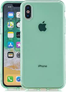 Simple Transparent Mobile Phone case iPhone XR,Clear Shockproof Soft TPU Silicone Shell Phone Cover for iPhone XR 6.1''Anti-Yellow Edge not Easy to deform (Green)