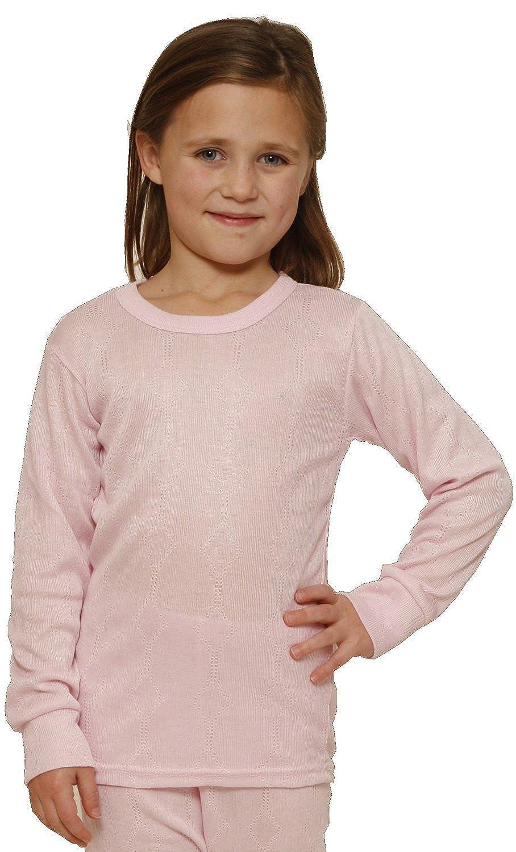 Octave Mädchen Thermo-Unterwäsche - Langarm-Shirt - Viskose - Strickmuster - rosa - 2-3 Jahre [Brust: 45, 7-50, 8 cm]