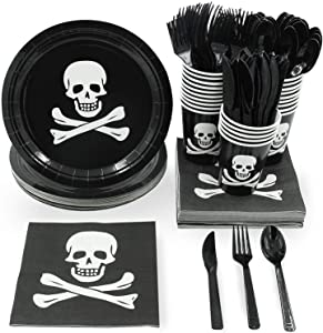 Pirate Party Supplies, Paper Plates, Plastic Cutlery, Cups, and Napkins (Serves 24, 144 Pieces)