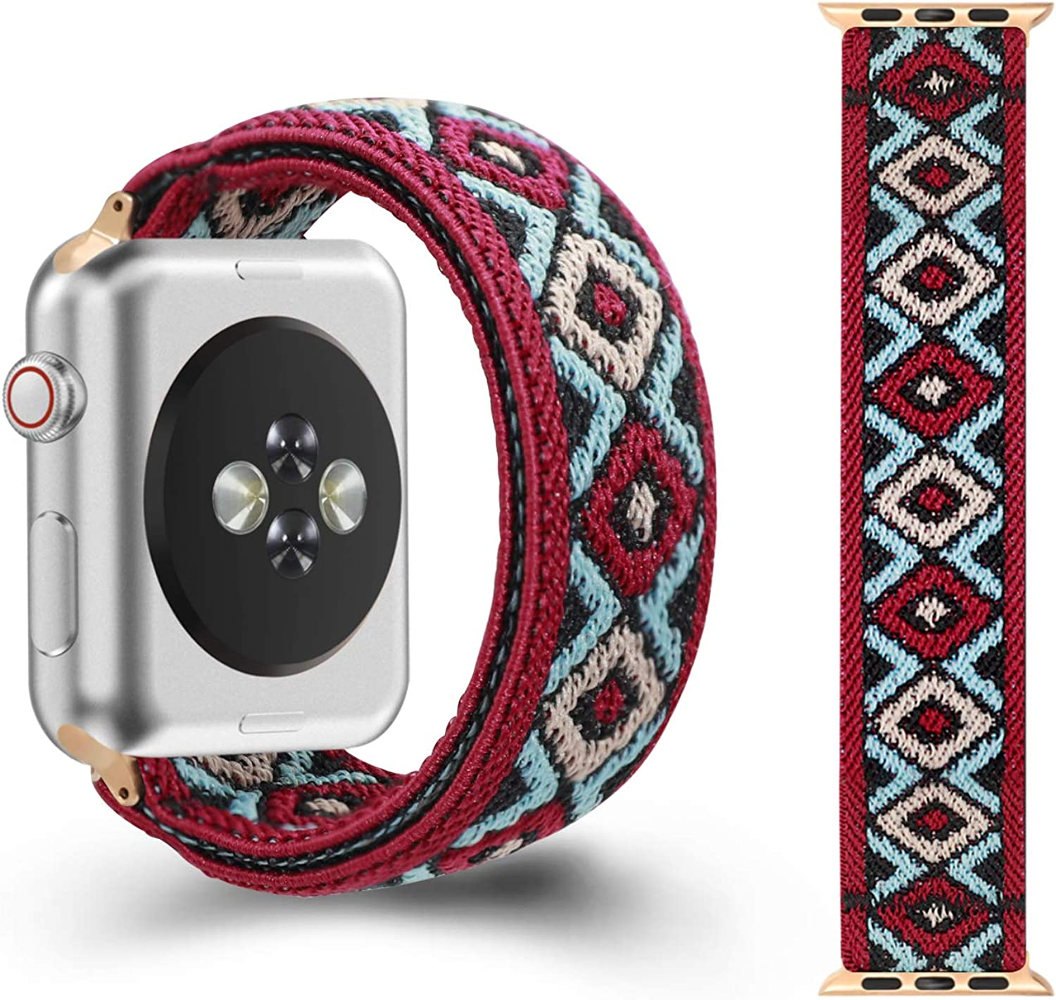 CreateGreat Elastic Bands Compatible with Apple Watch 38MM,40MM, Double Side Elastic Pattern Stretch Bands for 2019 iWatch Series 5 4 3 2 1