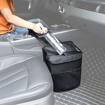 Hanging Car Trash Can Bin - PowerTiger Car Garbage Cans Bag with Lid & 3 Mesh Storage Pockets 2.64 Gallon: Automotive