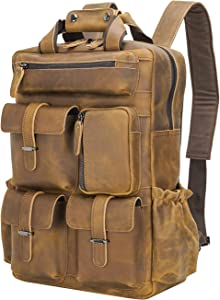 Texbo Full Grain Cowhide Leather Multi Pockets 16 Inch Laptop Backpack Travel Bag (Light Brown(Updated Version))