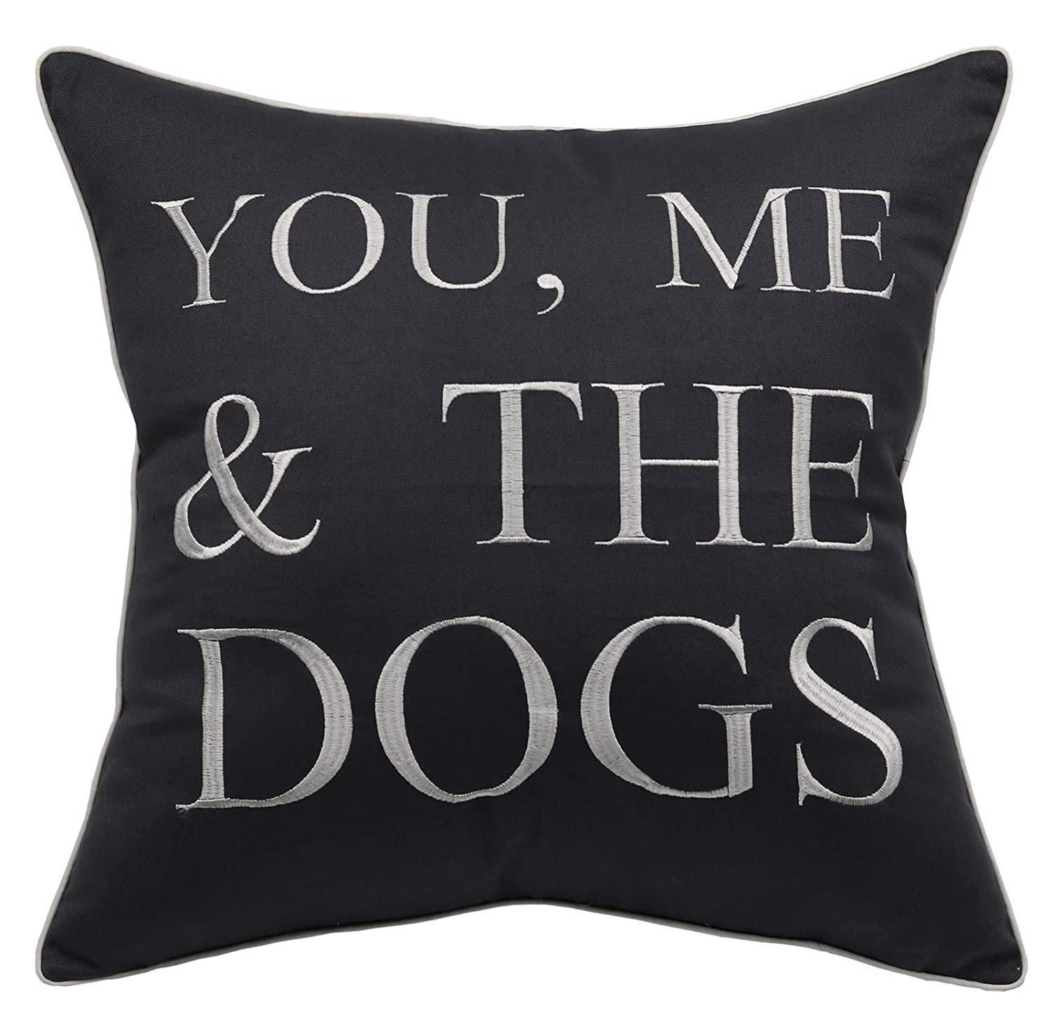 """YugTex Pillowcases Embroidered Pet Lover Gift, You me and The Dogs Throw Pillow Cover, Home Decor, Dog Lovers Gift,Housewarming Gift,Couple Cushion Cover (18""""x18"""", You me and The Dogs(Grey))"""