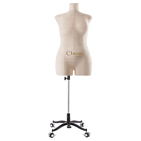 Classy Forms Fully Pinnable Soft Mannequin Torso Eva Beige Sewing Forms for  Women Dress Form Plus Size 12 XL