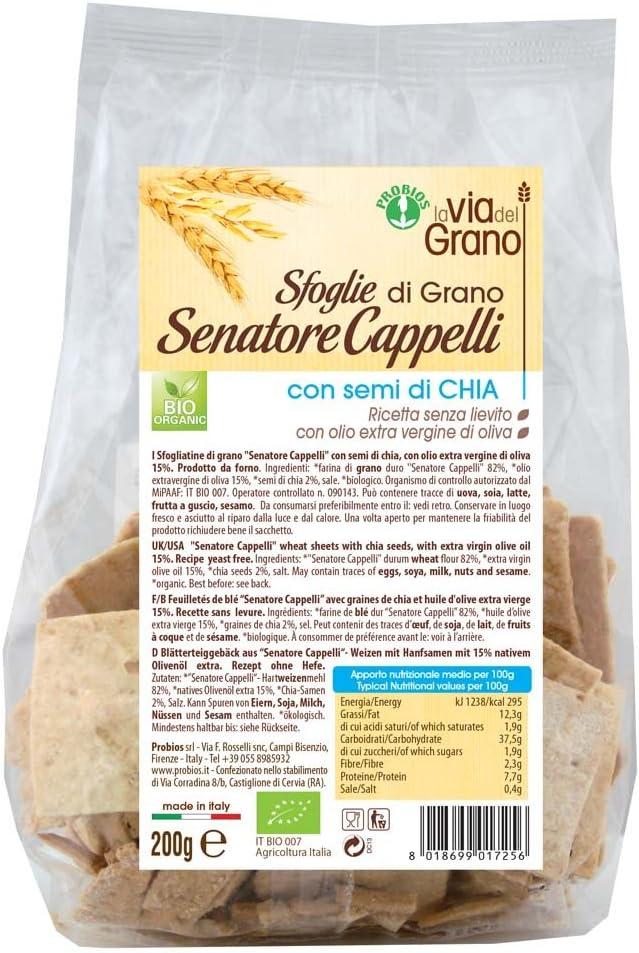 La via del Grano de Trigo Sfoglie Senator Sombreros Con Orgánica Chia Seeds 200g: Amazon.es: Salud y cuidado personal