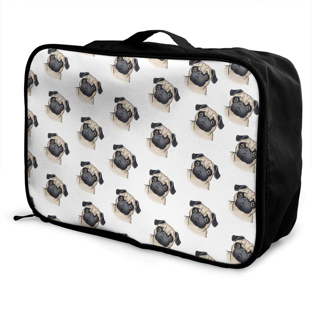 YueLJB Cute Pug Lightweight Large Capacity Portable Luggage Bag Travel Duffel Bag Storage Carry Luggage Duffle Tote Bag