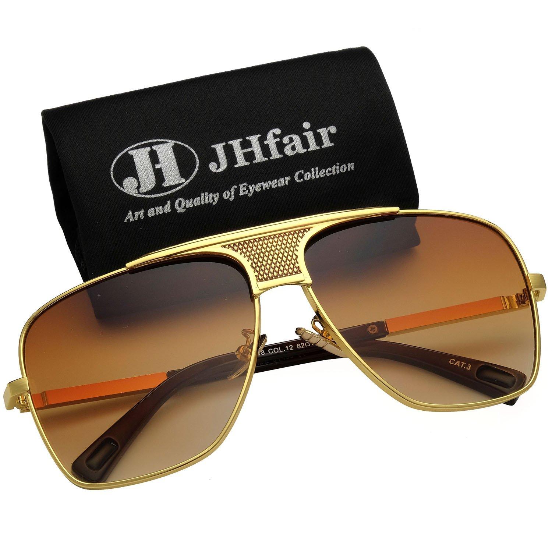 JHfair Brand Designer Large Square Aviator Fashion Mens Sunglasses