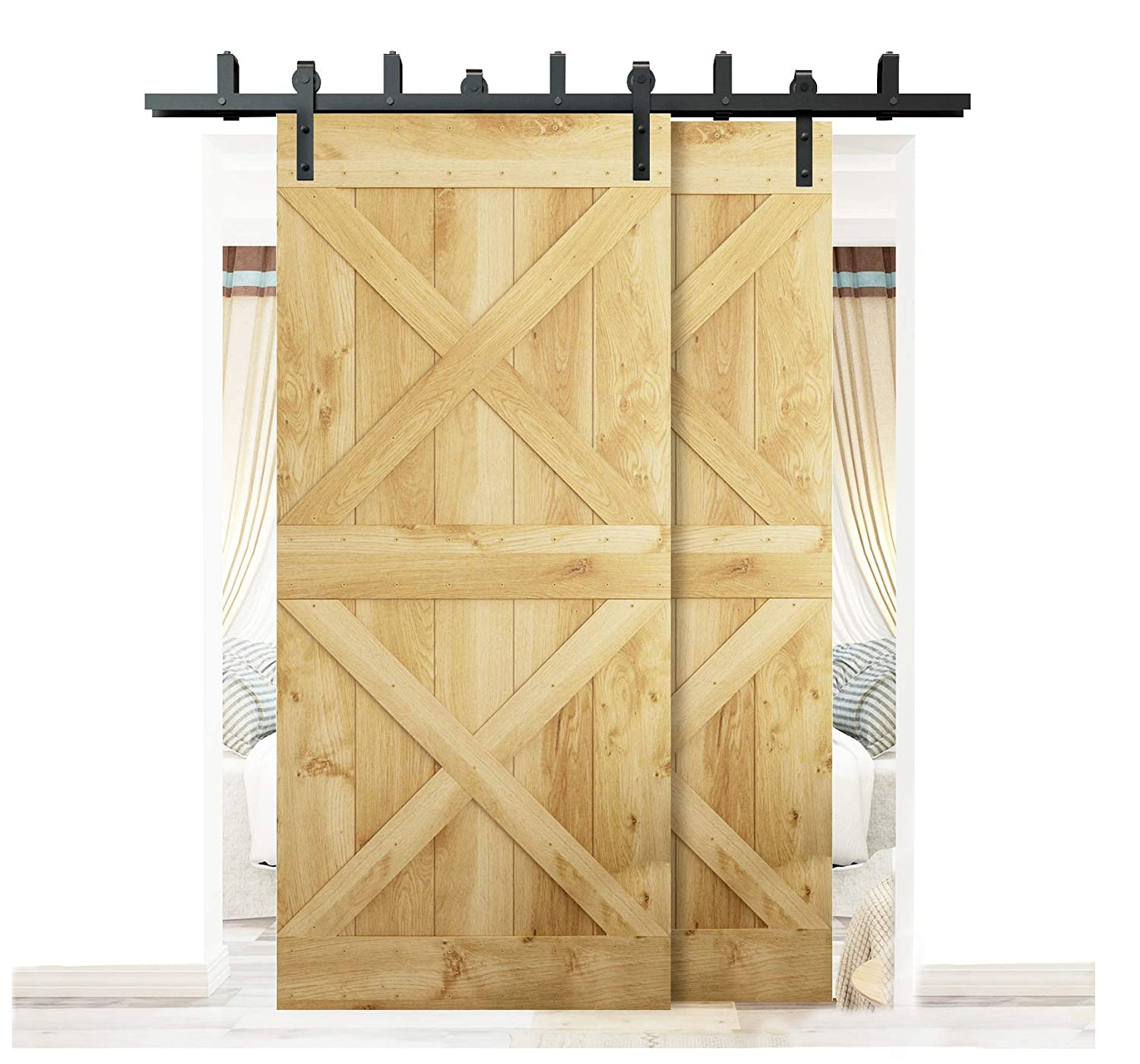 Amazon Diyhd 6ft Bypass Sliding Barn Wood Door Hardware