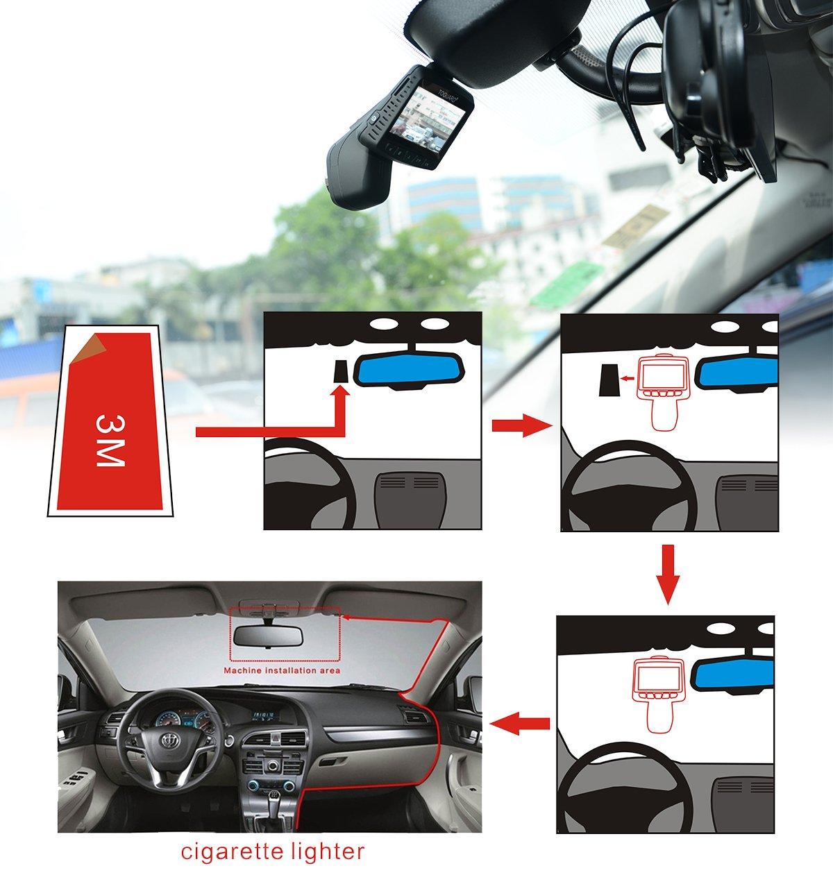 Dashcam Voiture Enregistreur de Conduite /Écran LCD 2.45 Pouces Objectif R/églable /à Grand Angle de 170 Degr/és Enregistrement en Boucle TOGUARD Cam/éra de Voiture WiFi Cam/éra Embarqu/ée Full HD 1080P