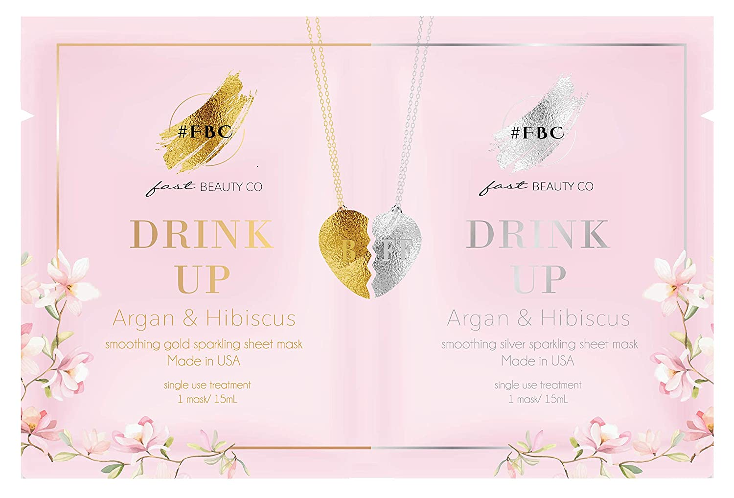 Fast Beauty Co. BFF Drink Up! Smoothing Face Masks With Argan & Hibiscus, 2 units