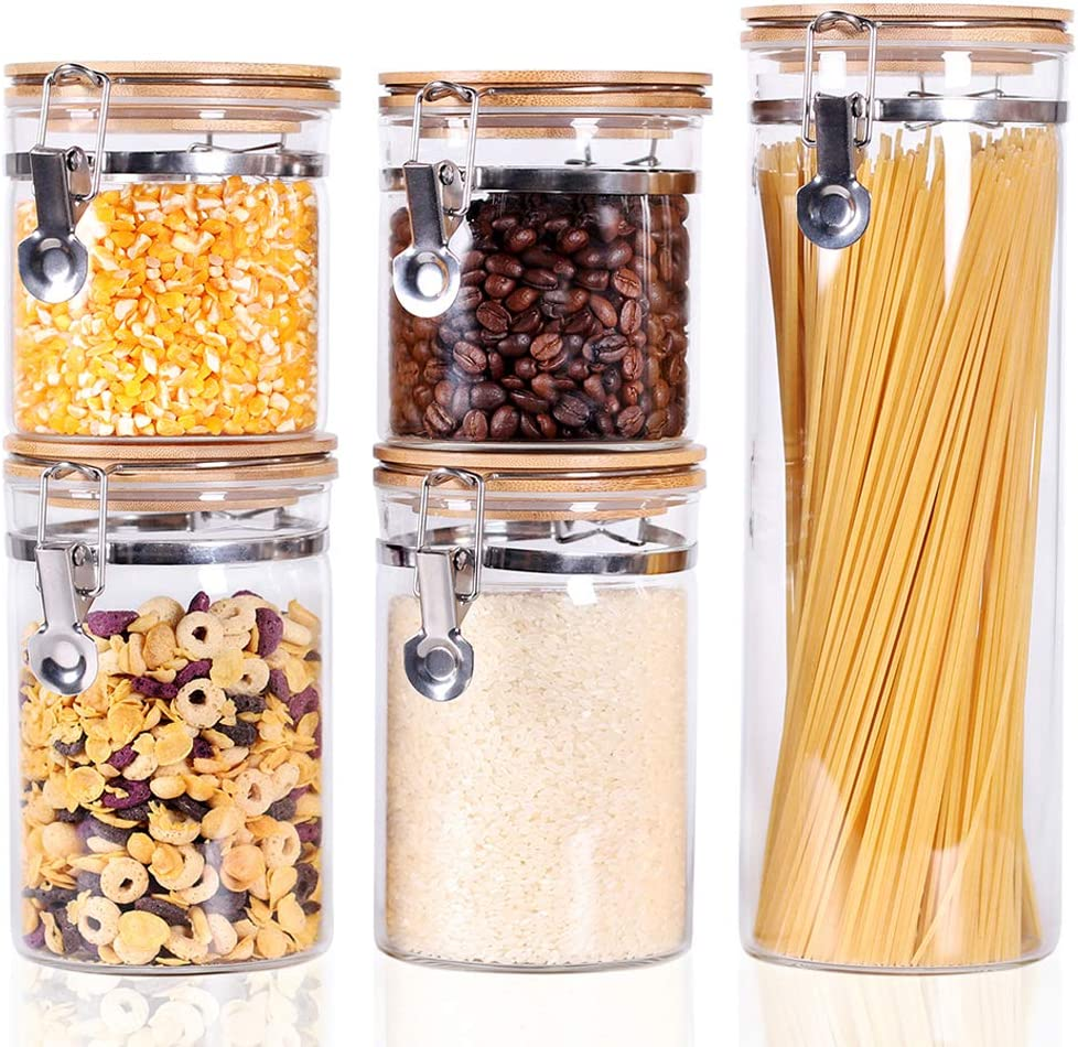 Tzerotone Glass Canisters set of 5 for Home Kitchen, Upgrade Thicken Airtight Food Storage jars Containers with Wood Bamboo Clamp Lids for Spaghetti, Flour, Coffee, Sugar, Tea, pasta