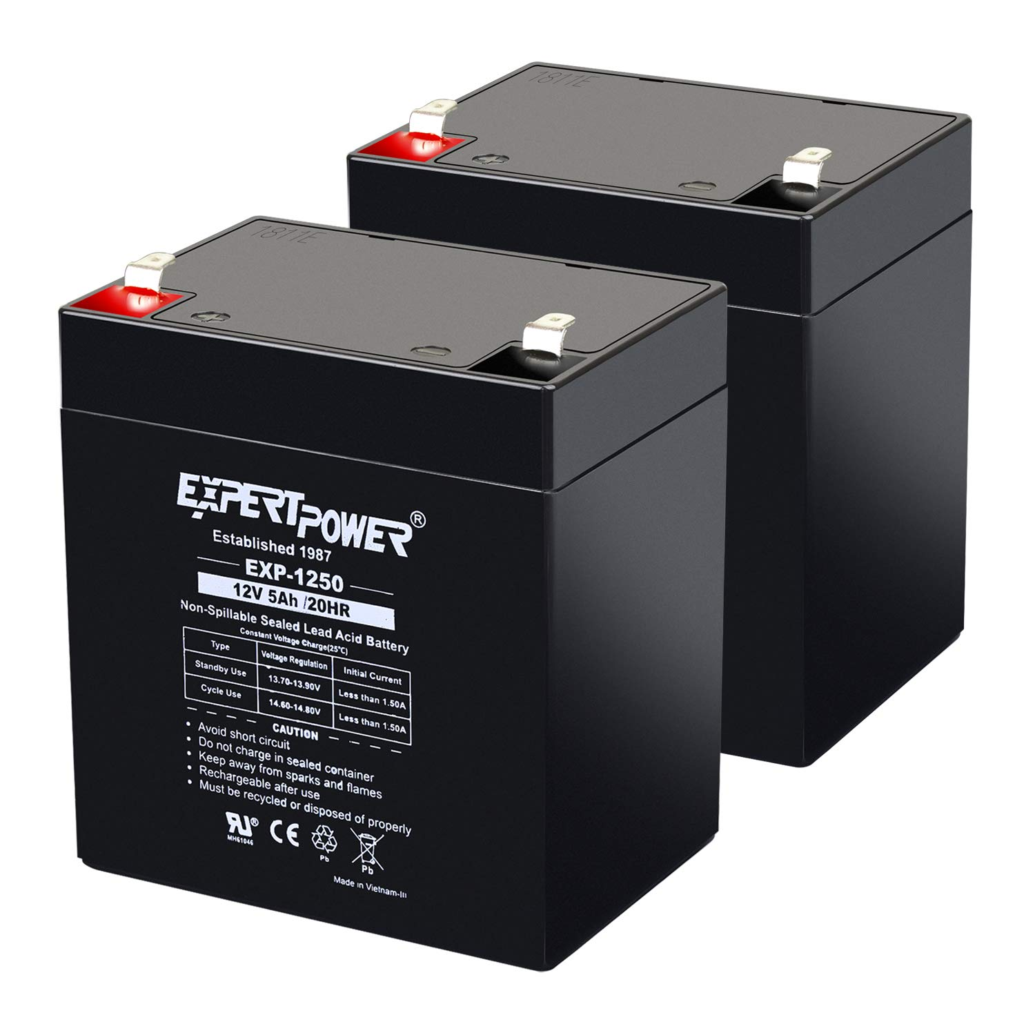(2 Pack) ExpertPower 12V 5Ah Home Alarm Battery With F1 Terminals || EXP1250