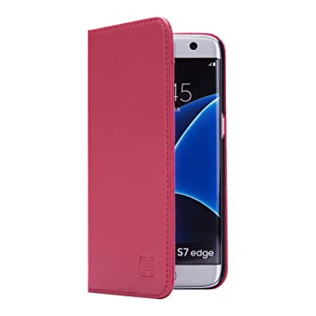 32nd Classic Series - Funda Tipo Libro de Piel Real para Samsung Galaxy S7 Edge, Carcasa de Cuero Premium diseñada con Cartera, Cierre Magnetico y ...