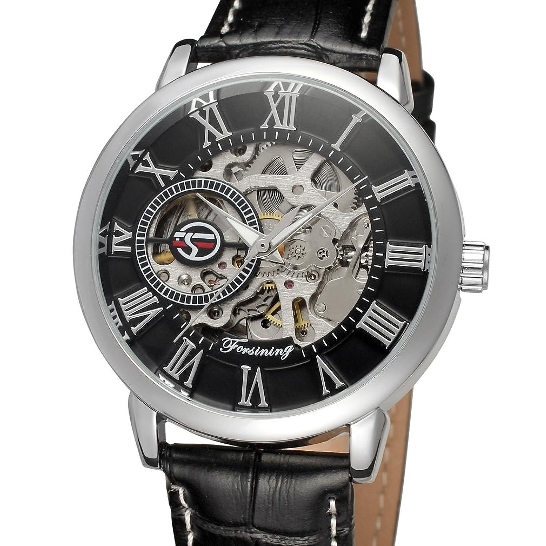 FORSININGメンズ自動Movementアナログ表示合金ケースレザーバンドカラーブラック手首腕時計fsg8096 m3s1 B00WU6X2L6