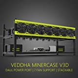 Veddha Deluxe 8 GPU Minercase V3D 8 Bay Aluminum Stackable Mining Rig Open Air Frame Case (BlackStorm/Yellow)