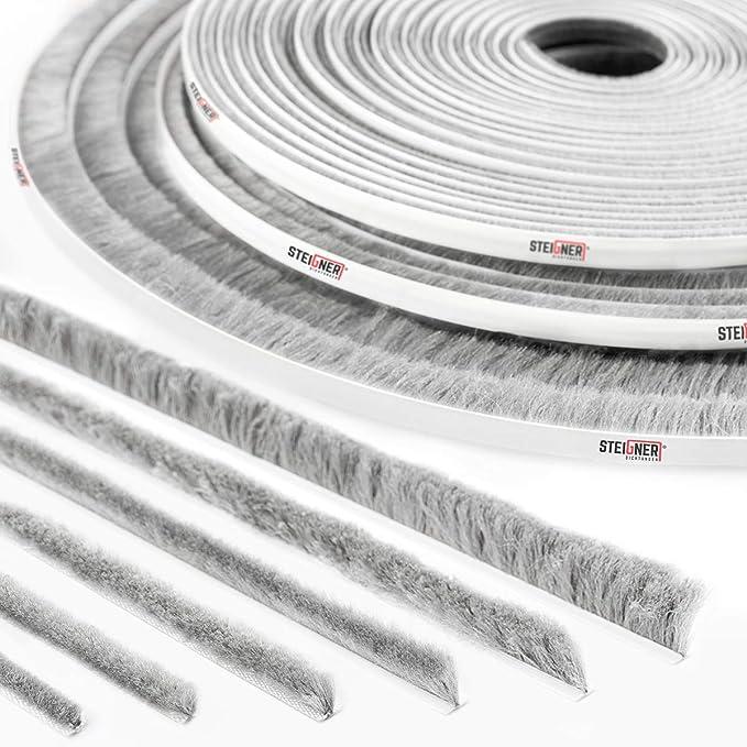 STEIGNER 5m Junta de cepillo autoadhesiva GRIS, Cepillo a prueba de polvo, Tira de sellado, alturae 12 mm: Amazon.es: Bricolaje y herramientas