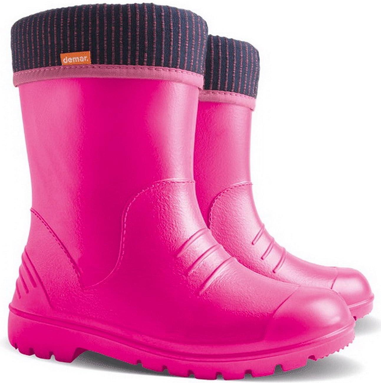 Ultralight Boys Girls Kids Warm Lined Rain Boots Wellington Boots Wellies Dino