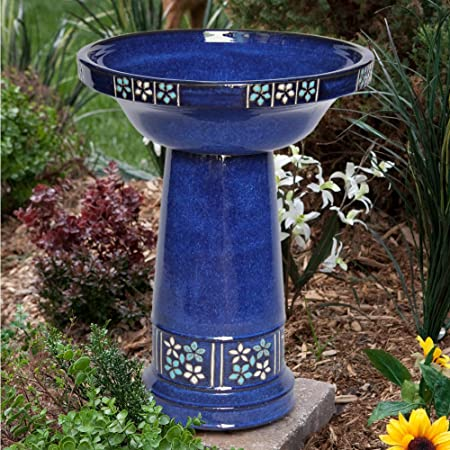 front facing smart solar ceramic solar bird bath
