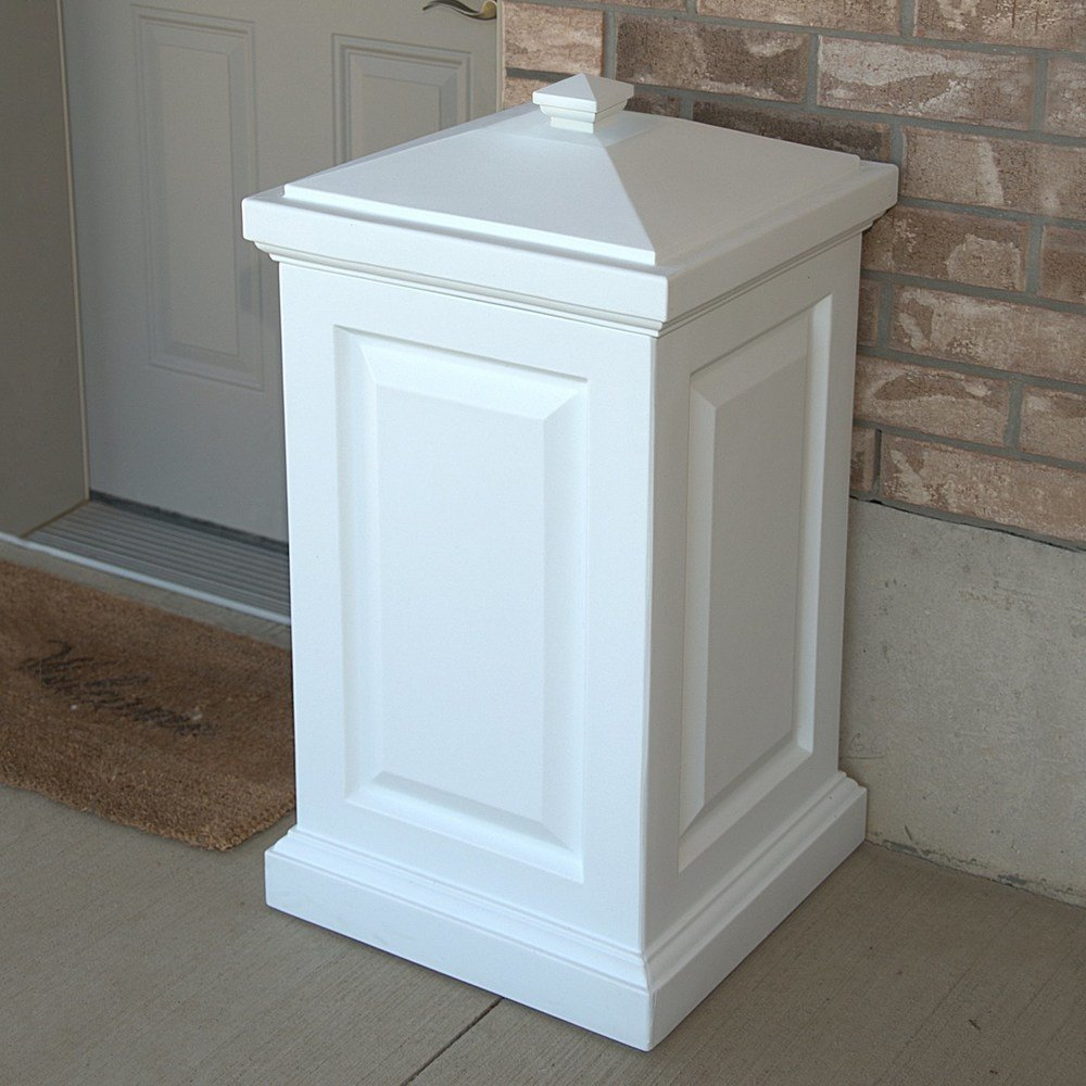 MD Group Storage Bin White Polyethylene Plastic Removable Lid Outdoor Garden Patio Container