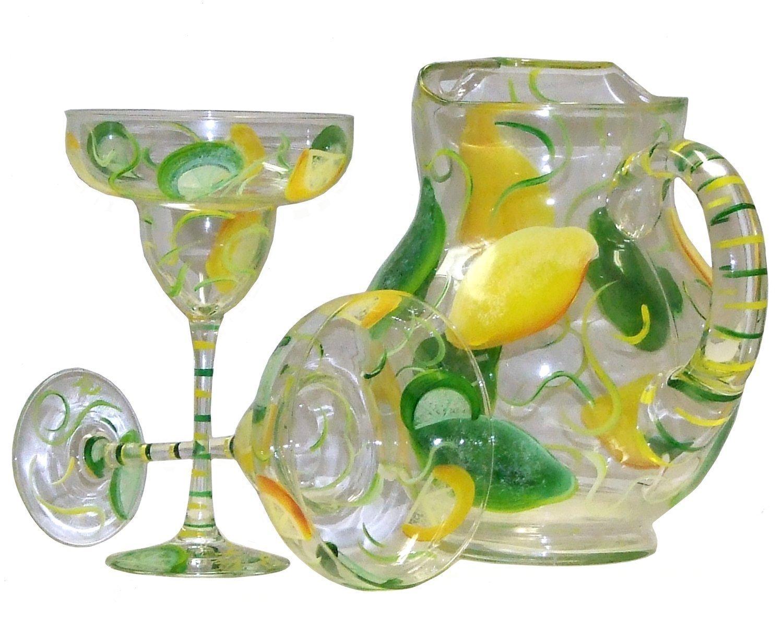 Lemon Lime Design 3-Piece Margarita Set. Hand Painted