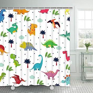 Cool Dinosaur Playing Guitar Shower Curtain Set Waterproof Fabric Bathroom Hooks