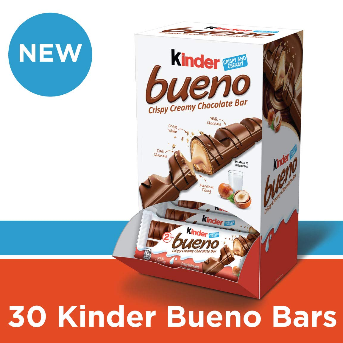 Kinder Bueno Milk Chocolate and Hazelnut Cream Candy Bar, 30 Individually Wrapped Bars Per Pack by Kinder Bueno