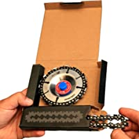 """Grinder Wood Carving Chain Disc – Woodcarving Saw Blade with Extra Chain in Set, 4 Inch, 22 Teeth, 5/8"""" Wheel Center Hole for 4 or 4.5'' Angle Grinder – Fine Cut Cutting and Sculpting Chainsaw Plate"""