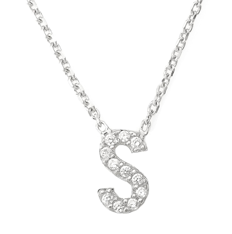 3a2958d2412b5 Mini Crystal Initial Necklace Alphabet Letter (Letter S): Amazon.co ...