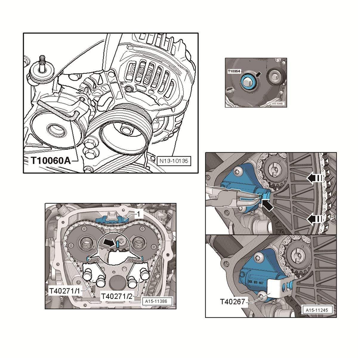 Conjunto de calado/reglaje para sincronización de vehículos VAG (AUDI, VOLKSWAGEN, SEAT Y SKODA) 1.8/2.0 TSI/TFSI: Amazon.es: Bricolaje y herramientas