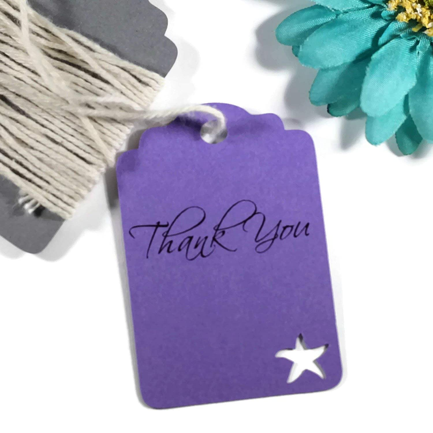 Purple Starfish Tags - Under the Sea Royal Purple Thank You Labels (Set of 20)