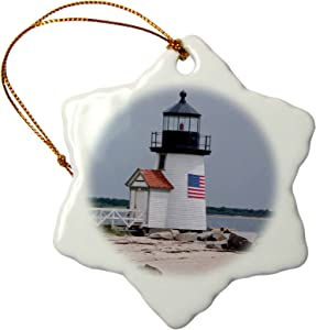3dRose Massachusetts, Nantucket, Brant Point Lighthouse, Snowflake Ornament, 3""