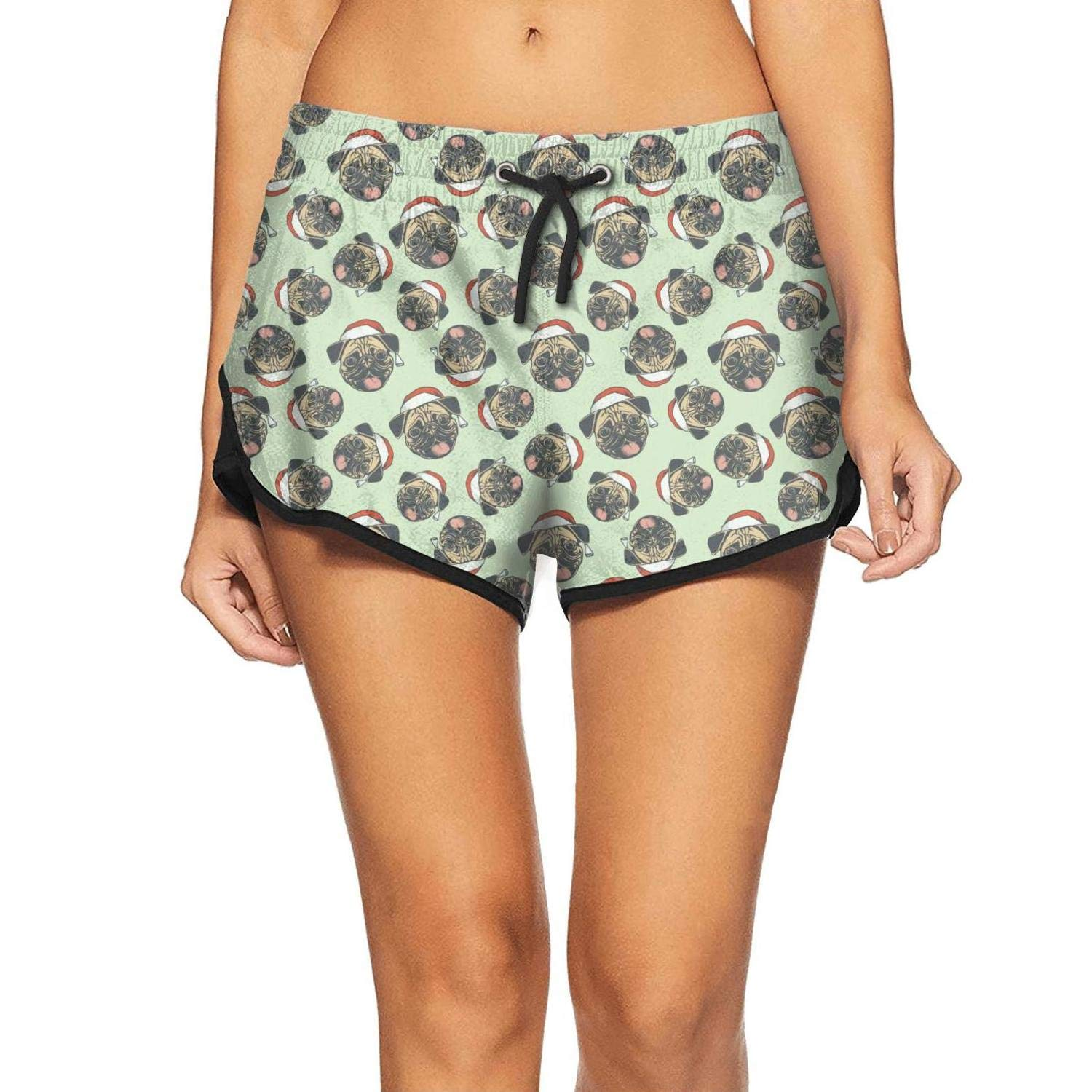 Womens Swim Trunks Pug Princess and Butterfly Quick Dry Bathing Suits Mesh Lining Beach Board Shorts