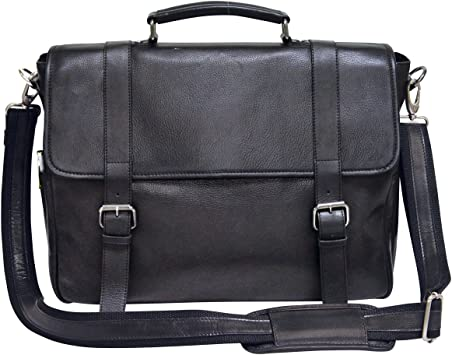 Black One Size Bellino Marshall Leather Briefcase