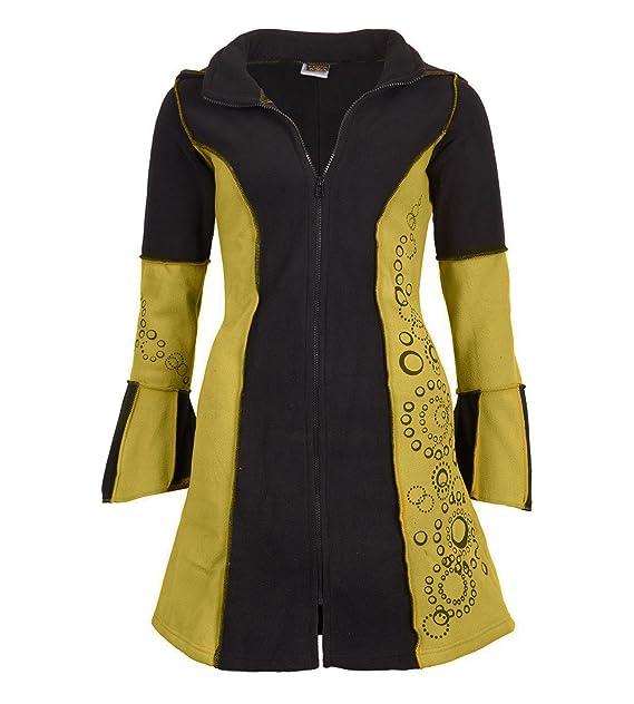 Kunst und Magie Damen Fleece Jacke mit Langer Zipfelkapuze Goa Hippie Fraggle