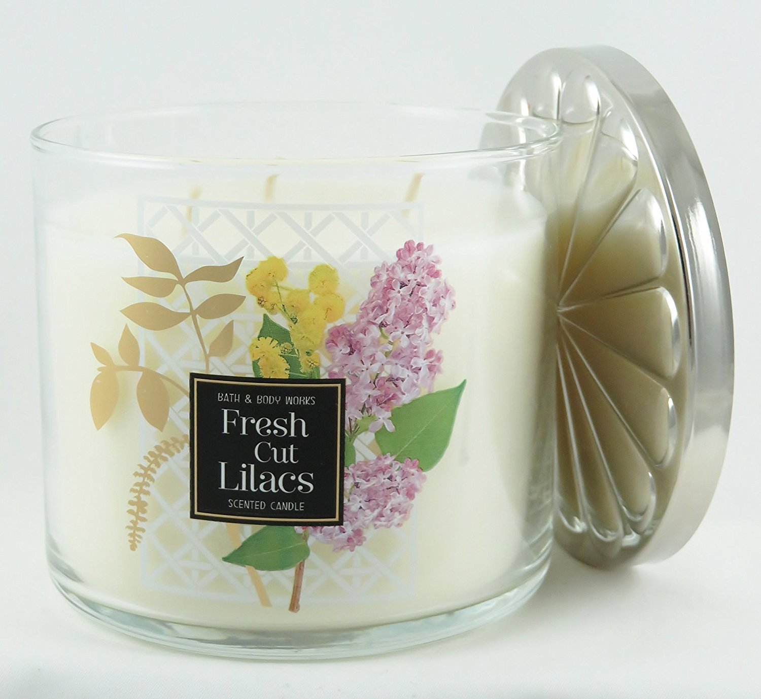 Bath & Body Works White Barn Scented 3-Wick Candle in Fresh Cut Lilacs (14.5oz) LEPAC2527