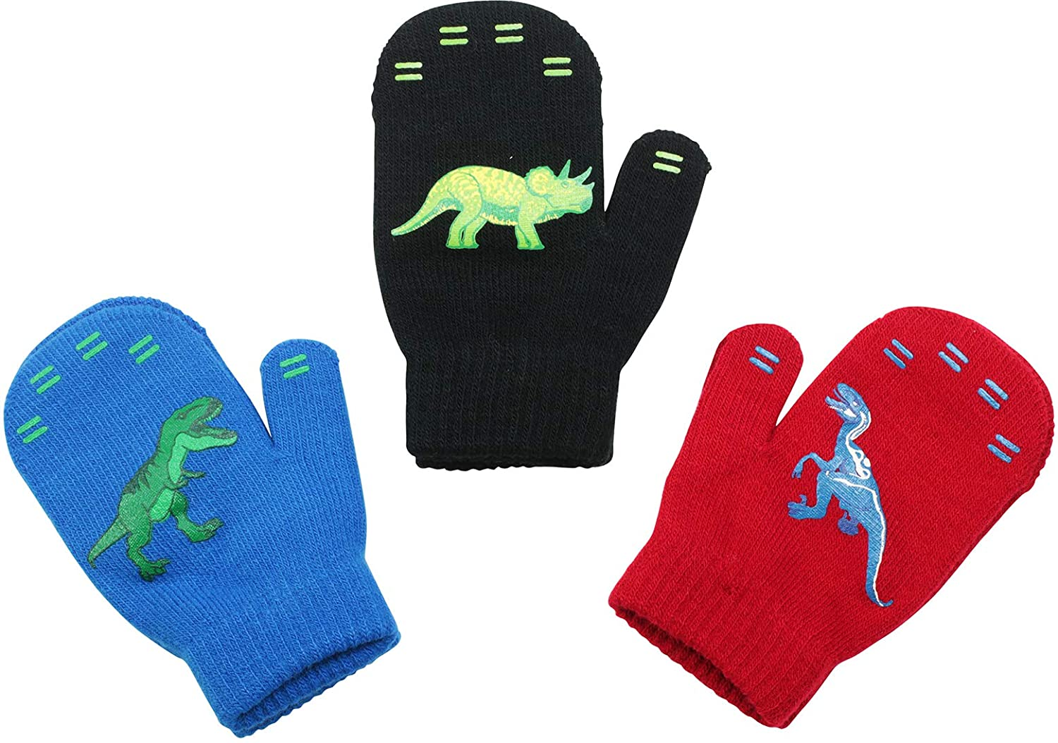 3 Pack - Magic Stretch Winter Mittens for Boys, Kids, Children, Toddler Toddlers - Dino, Solid Colors, Trucks 71FMStZXRPL
