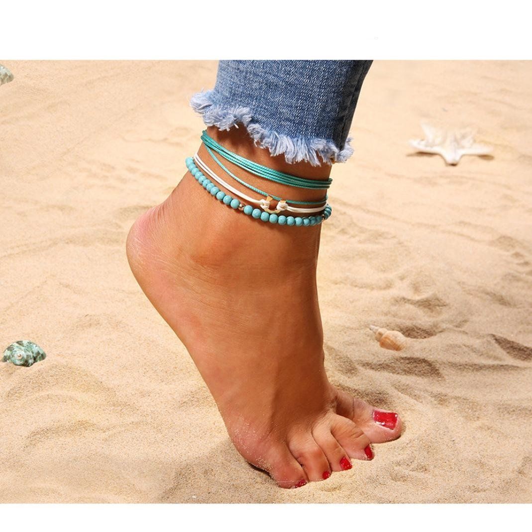 Naladoo 1Pc Girl Blue Multilayer Alloy Rope Weave Beads Beach Anklet Foot Jewelry Beauty Ornamen