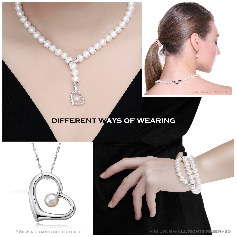 e4ea3492091a VIKI LYNN Damen Kette Hochzeitstag Perlenkette Perlen Halskette mama  Geschenkideen in 3 Tragevarianten mit 7-8mm Süßwasserzuchtperlen und Sterling  silber ...