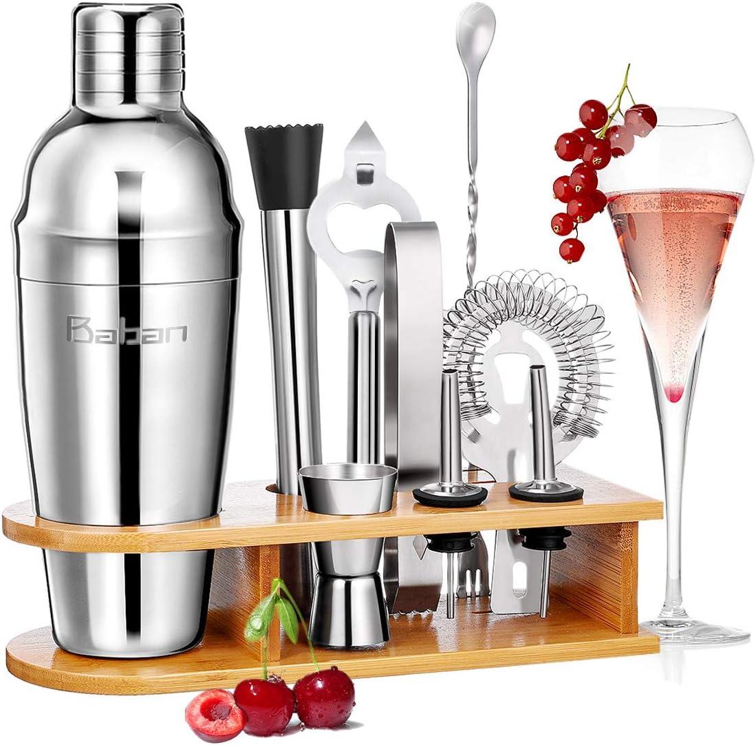 Baban coctelera kit profesional 10 piezas, cocktail kit,750ML Cocktail Shaker, que incluye un exquisito marco de madera Conjuntos para el bar; Juego de regalo completo