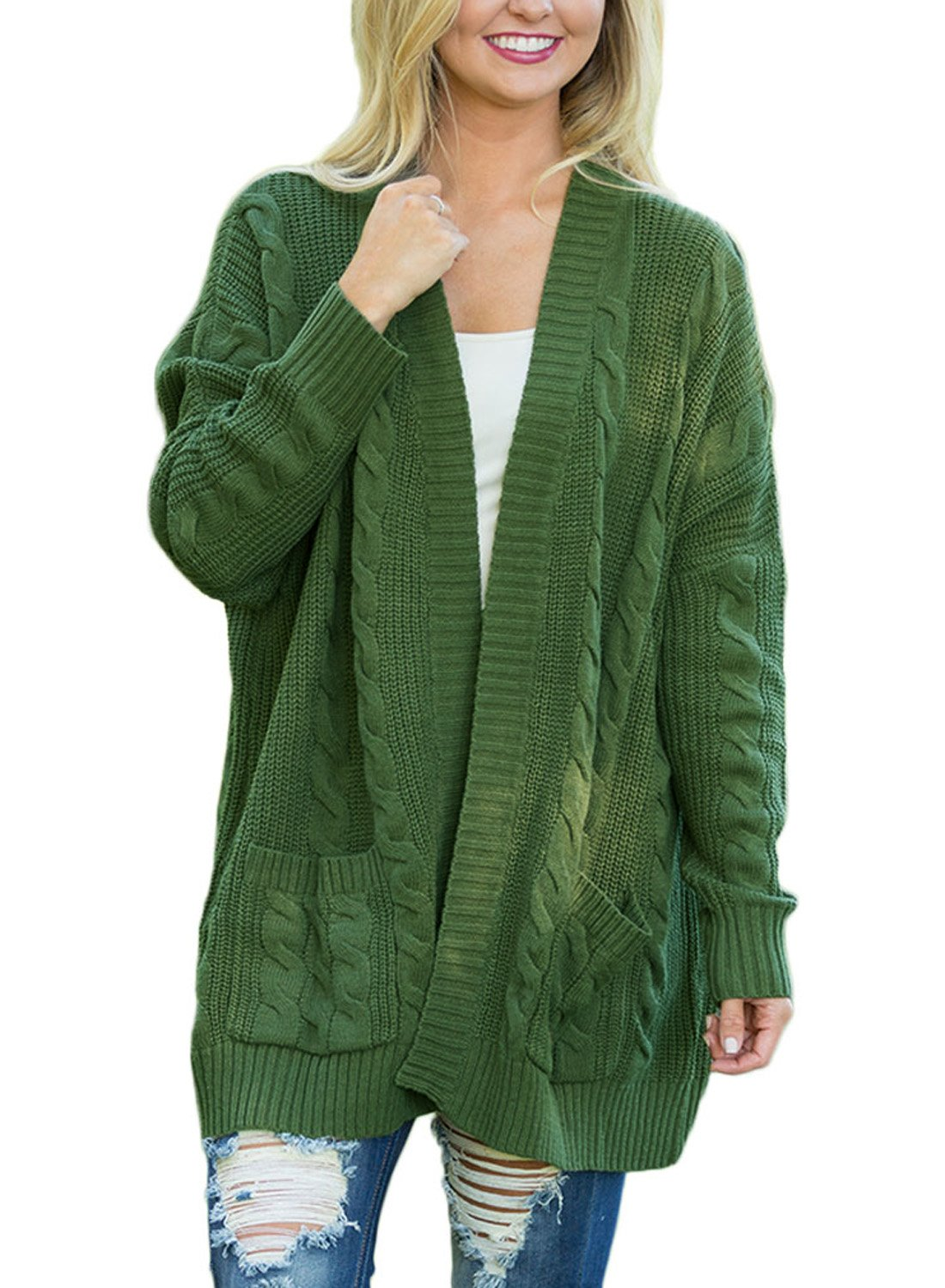 Dokotoo Womens Plus Size Cotton Cozy Ladies Casual Chunky Fall Thick Long Sleeve Open Front Long Knit Cardigans Sweaters Pullover Tops With Pocket Army Green