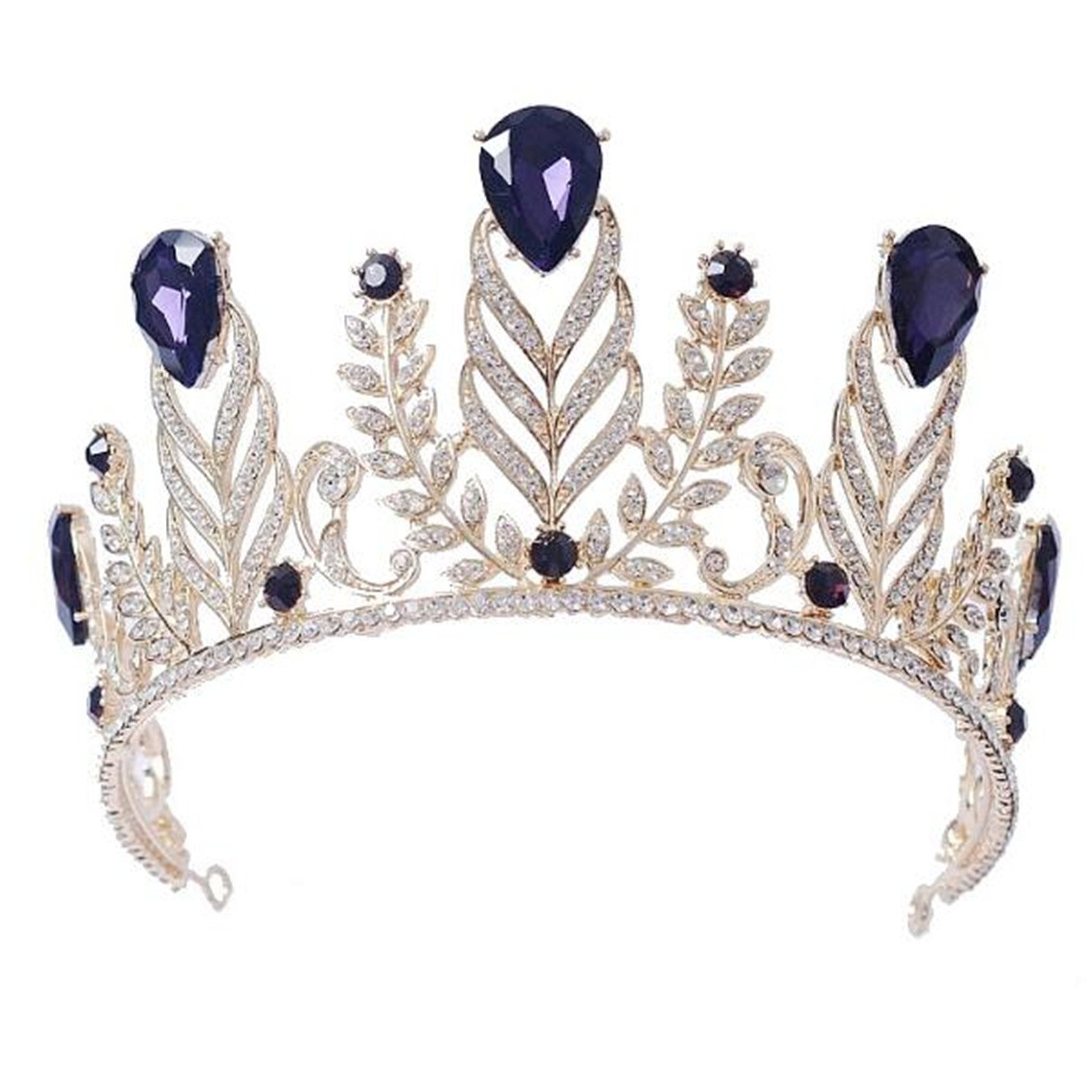 Wiipu Vintage Rhinestone Feather Crown Wedding Crystal Leaf Bride Tiara Headband(A1346) (Purple)
