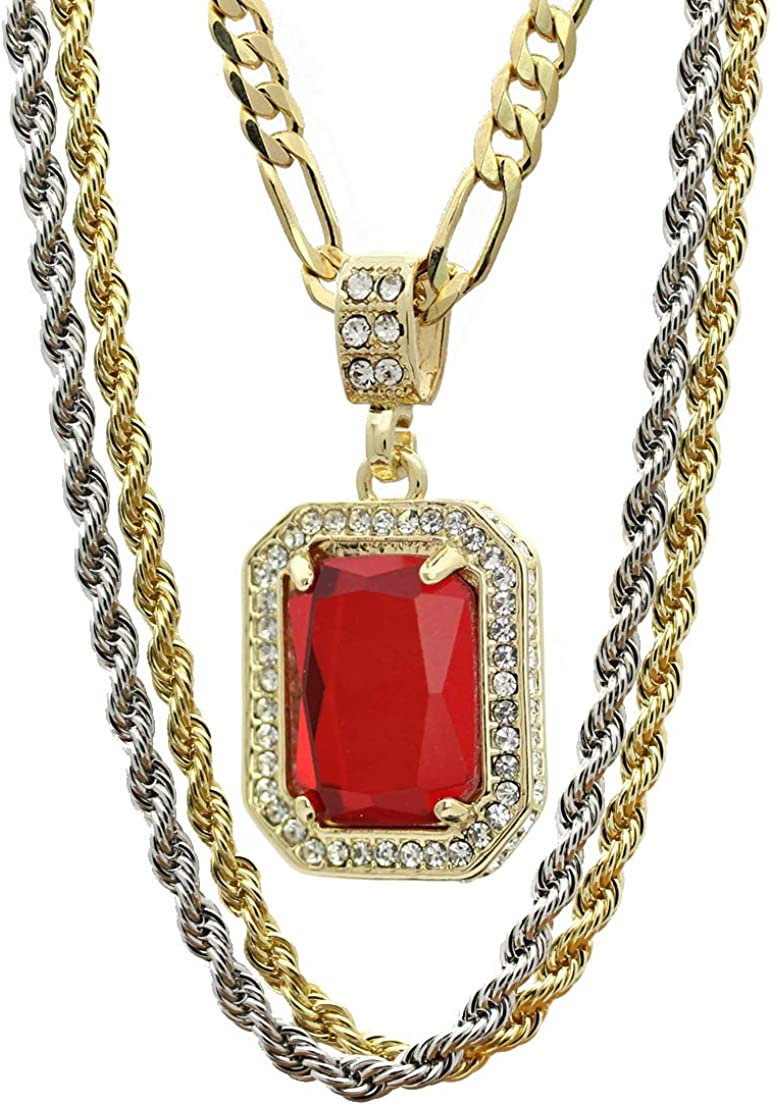 """Mens 14k Gold Plated Cz G4-Thin Cross Pendant Hip-Hop 24/"""" Figaro Necklace Chain"""