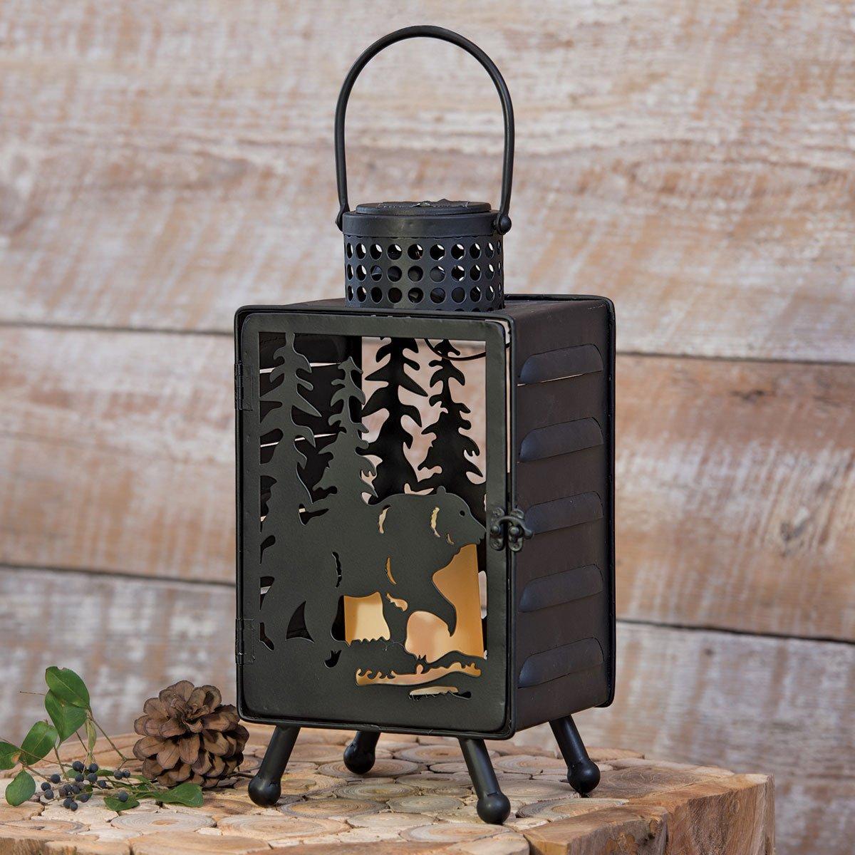 Bear & Pine Tree Solar LED Candle Lantern