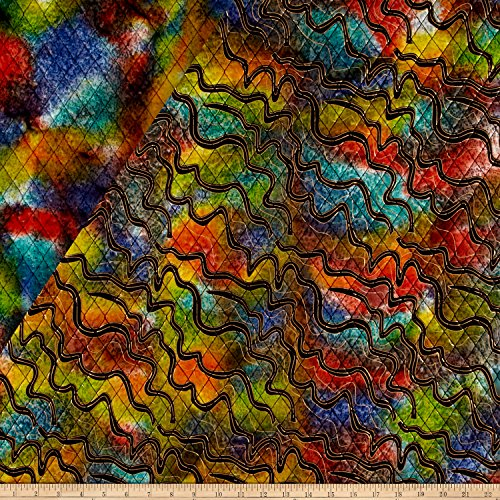 - Textile Creations Double Face Quilted Indian Batik Zig Zag Fabric by The Yard, Metallic/Multi