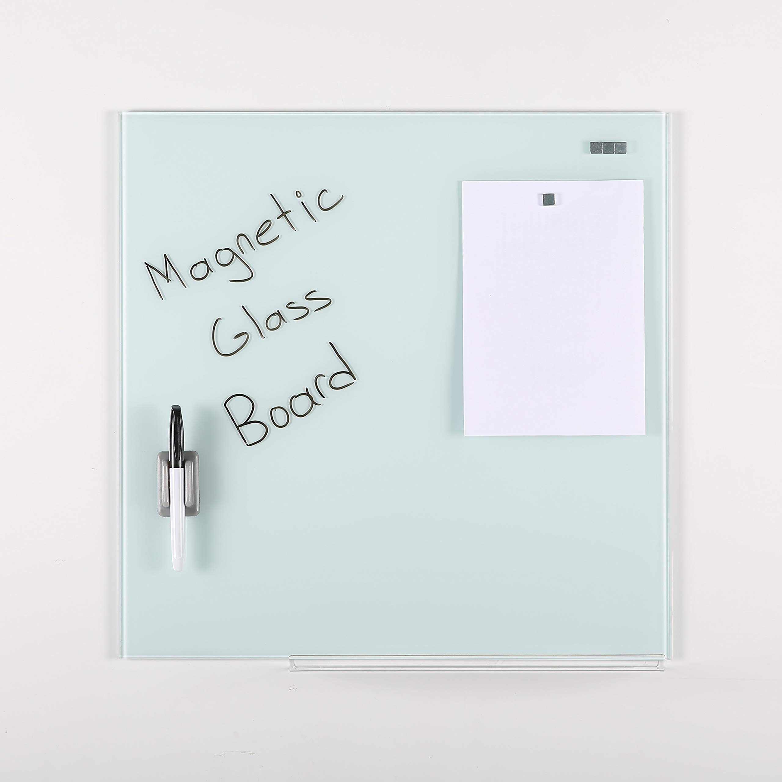 M&T Displays Wall Mounted Magnetic Tempered Glass Dry Erase Board Set, White, 17.72x17.72, with A Pen & 4 Magnetic Pins by M&T Displays