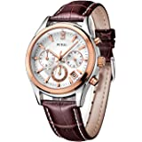 BUREI Men's Rose Gold Chronograph Watches with Date Analogue Stainless Steel Case and Brown Leather Strap