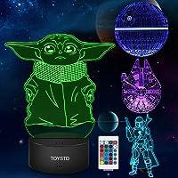 Star Wars 3D LED Luz de noche, Lámpara de ilusión Cuatro tipos y 16 colores Lámpara de decoración Cambio - Regalo…