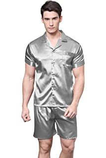6c5b1e458b Mens Luxury Silk Nightwear Pajama Set Short Sleeve Loungewear Top ...