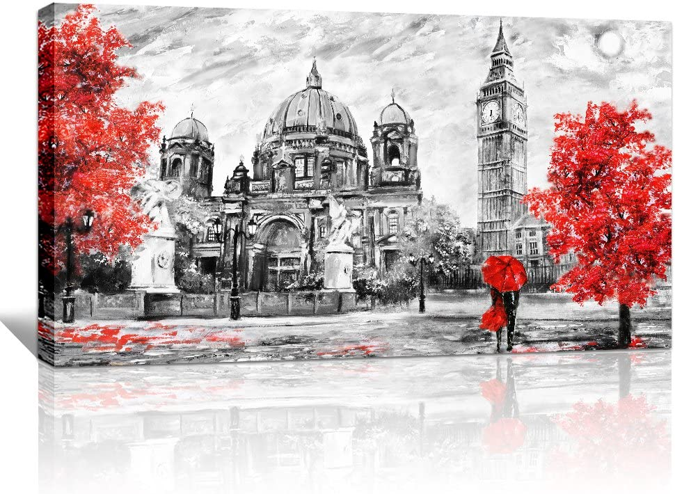 Amazon Com Wall Art Decor For Living Room Canvas Art Simple Life Red Creative Painting Romantic Couples 20 X 40 Canvas Prints Black And White Imperial Palace Landscape Painting Ready To Hang Home